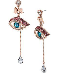 MYSTERIOUS EYE LINEAR EARRING MULTI accessories jewelry earrings fashion