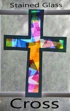 Stained Glass Cross Easter Craft for kids