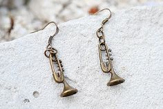 Teacher gift Trumpet Earring Musician Lovely Trumpet Vintage Style Jewelry Musical Instrument Cornet Marching Band accessory Music lover Gif by Lovelyblackpanther #TrendingEtsy