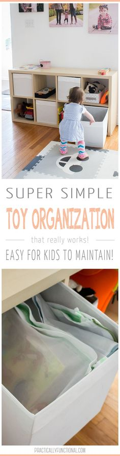 This simple toy organization system is the best! Just cube storage, bins, and laundry bags; so easy for kids to maintain and keep organized!
