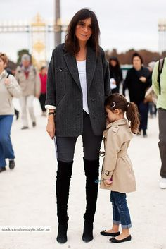 Styling mom and daughter. Over the knee boots & long black sweater, trench coat and ballet flats