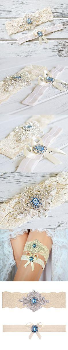 """Blue Topaz Wedding Bridal Garter Set (Large (20"""" - 21""""), Ivory Lace)"""