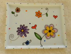Hand painted porcelain personalized floral decorative tray for bed and bath on Etsy, $26.00
