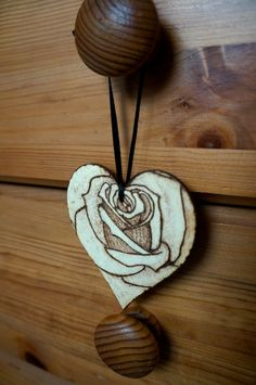 Pyrography Valentines Rose Heart by katiebann