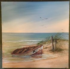 Seascape Paintings, Landscape Paintings, Watercolor Landscape, Watercolor Paintings, Boat Art, Boat Painting, Beach Scenes, Pictures To Paint, Beautiful Paintings
