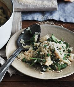 Baked Spinach and Pea Risotto Recipe