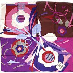 "Chanel Multicolor Silk Signature ""CC"" Floral Scarf - $199.99"