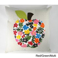 Multicolored Apple Aplique Cushion Cover - Free Shipping On Orders Over $45 - Overstock.com - 15078962 - Mobile