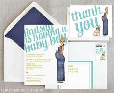 {New Custom Illustration} Top Knot + A Baby Bump!  Via Ashley Brooke Designs