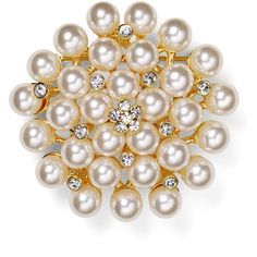 Carolee Faux-Pearl Cluster Pin ($73) ❤ liked on Polyvore featuring jewelry, brooches, white, artificial jewelry, faux pearl jewelry, pin brooch, fake jewelry and artificial jewellery