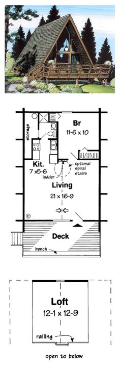 A-Frame Style COOL House Plan ID: chp-30337 | Total Living Area: 823 sq. ft., 1 bedroom & 1 bathroom. #aframe #houseplan
