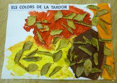 Colors de tardor amb pintura i cola amb fulles naturals.