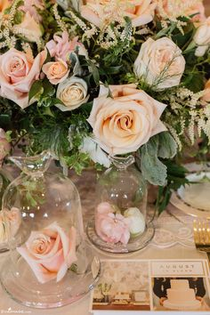 Pink Roses under Glass Domes Wedding Centerpiece The Wedding Co. 2015 Spring Event by www.evaimage.com