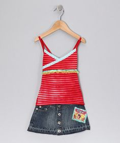 Take a look at this Red Stripe Top & Skirt - Girls by Mish Mish on #zulily today!