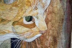 """Cat In Focus. Incredible detail shot from """"Marmalade's First Snow"""" a quilt by David Taylor."""