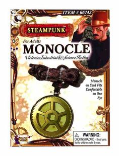 Adult Deluxe Victorian Steampunk Metal Gold Chain Monocle  Fancy Dress Accessory
