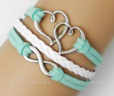 Mint green bracelet--Infinity bracelet--Double heart bracelet--boyfriend, girlfriend, gifts, best friend bridesmaid bracelet-Best gift N231