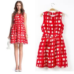 KCLOTH Check Printed Party Dress in Red #KCloth
