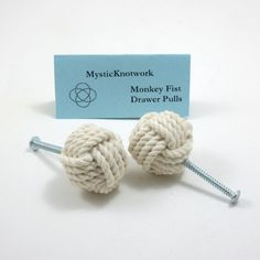 Nautical Monkey Fist Knob Drawer Pulls. $12.00, via Etsy.  How cute would it be if someone used this idea for EARRINGS?