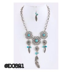 Turquoise Dream Catcher Necklace Set Beautiful necklace and earring on silver and turquoise. Very nice quality. Brand new without tags. Jewelry Necklaces