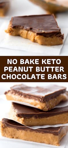 Peanut Butter meets creamy chocolate in these No Bake Keto Peanut Butter Chocolate Bars to create a mouthwatering delicious treat! - The ingredients and how to make it please visit the website Best Dessert Recipe Ever, Best Easy Dessert Recipes, Dessert Recipes With Pictures, Quick Easy Desserts, Simple Recipes, Sweets Recipes, Hot Desserts, Cheesecake Desserts, Delicious Desserts