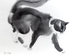 Bubi mon chat tuxedo - Aquarelle 18 x 24 pouces par bodorka sur Etsy https://www.etsy.com/fr/listing/265601186/bubi-mon-chat-tuxedo-aquarelle-18-x-24