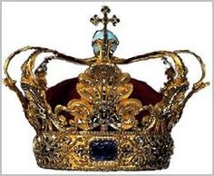 The Danish Crown Regalia consists of three crowns, a scepter, an orb, a sword of state, and an ampulla. They are kept at Rosenborg Castle. The crown of Christian V is the official crown that was used for the anointments of Danish absolute monarchs until 1849. The crown is no longer used, but represents the monarchy and the state. The circlet of the crown is divided by two large sapphires - one at the forehead of the wearer, and a thicker one at the back of the head. A spinel is found on one s...