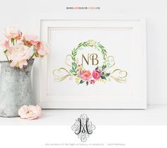 Wedding Monogram Logo Design Watercolor Floral Logo Family Crest Logo Personal Calligraphy Art Personal Monogram Name Art Printable Wall Art