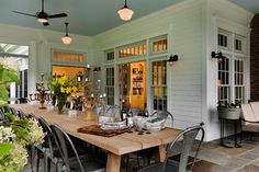Outdoor dining, old-house porch. luv this idea if you have a small house. make use of decks, porches and such for dinning while also enjoying outside. Outdoor Rooms, Outdoor Dining, Outdoor Decor, Dining Area, Dining Table, Porch Table, Patio Dining, Wood Table, Dining Rooms