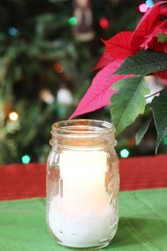 Make a Mason Jar snow candle. Fast, easy, and beautiful