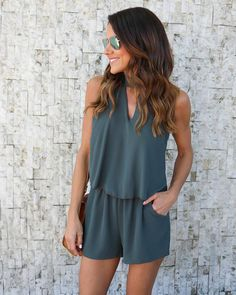 In Our LA Nights Keyhole Romper! A Crepe Like Romper With An On-trend Keyhole Neckline Halter Tie Neckline And Cute Shelf Top. Pockets And A Sleeveless Silhouette Keeps You Comfortab - May 13 2019 at Casual Outfits, Cute Outfits, Fashion Outfits, White Ripped Skinny Jeans, Hijab Style, Mode Top, Cute Rompers, Rompers Women, Cute Summer Rompers