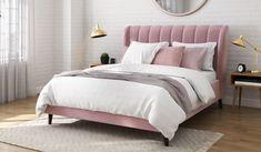 Exemplary Upholstered Headboard Standard Beds Design Ideas - Master Home Decor Bed Frame Design, Bed Design, Velvet Bed Frame, Upholstered Bed Frame, Buy Bed, Pink Bedding, Queen Bedding, My New Room, Bed Sets