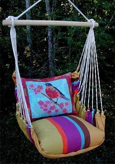 Patio hammocks - Pin it! :) Follow us :))  zPatioFurniture.com is your Patio Furniture Gallery ;) CLICK IMAGE TWICE for Pricing and Info :) SEE A LARGER SELECTION of  patio hammocks at http://zpatiofurniture.com/category/patio-furniture-categories/hammocks/ - home, patio, home decor - Outdoor Indoor Hammock Swing Chair w/ Pillow Mod BLUEBIRD Stripe Design « zPatioFurniture.com