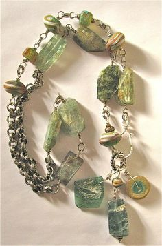 Irish Blessing by Snagridge Jewelry  ||  Green kyanite, lampwork glass and old Roman glass wired and chained. $142.00