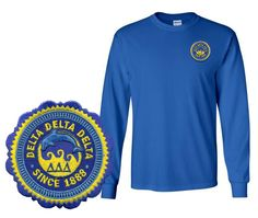 Delta Delta Delta Patch Seal Long Sleeve T-Shirt GreekGear.com