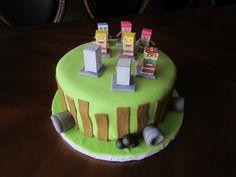 Clash of clans vs mine craft birthday cake.