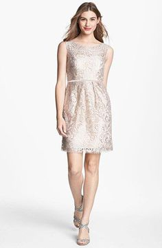 Jenny Yoo Metallic Lace Bridesmaid Dress | See More! http://heyweddinglady.com/the-ultimate-guide-to-sparkling-metallic-dresses-for-your-wedding/
