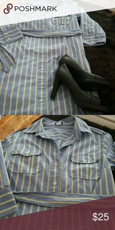Gorgeous &Professional J.Crew Shirt Dress So classic and professional J.Crew blue, white and yellow striped shirt dress. You can throw this on and go, and look fantastic! Size  6. 38 inches from shoulder to hem. 36 inch waistline...with tie waist. Excellent condition. J. Crew Dresses