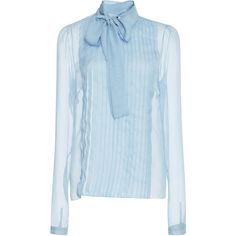 Chiffon Shirt With Bow | Moda Operandi (£730) ❤ liked on Polyvore featuring tops, blouses, shirts, tie shirt, bow tie blouse, bow tie shirt, bow shirt and blue shirt