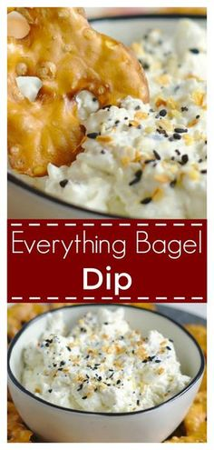 ad Everything Bagel Dip - All of your favorite everything bagel flavors in a dip! Made with just 3 simple ingredients, this dip is addicting! Everything Bagel Dip Recipe Guacamole, Hummus, Dip Recetas, Bagel Dip, Sauces, Little Lunch, Snacks Sains, Brunch, Everything Bagel