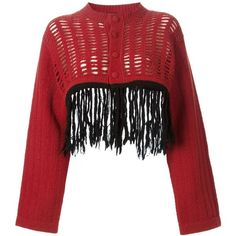 Jean Paul Gaultier Vintage Fringed Cropped Cardigan (22,645 INR) ❤ liked on Polyvore featuring tops, cardigans, cut-out crop tops, long sleeve cardigan, long sleeve crop top, red cropped cardigan and fringe crop tops