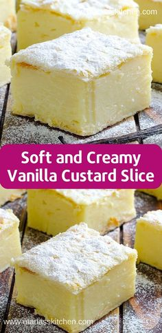 Soft and Creamy Vanilla Custard Slice - - Vаnіllа Cuѕtаrd Slісе – dеlісіоuѕ, ѕоft, сrеаmу аnd ѕо ѕіmрlе dеѕѕеrt! Pudding Desserts, Custard Desserts, Cold Desserts, Dessert Recipes, Vanilla Desserts, Cheesecake Recipes, Vanilla Recipes, Easy Desserts, Custard Slice