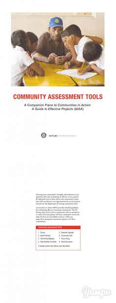 Community Assessment Tools - Magazine with 12 pages: Rotary International a companion piece to communities in action Rotary, Assessment, Action, Community, Magazine, Tools, Group Action, Instruments, Magazines