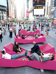 Mayer H. Fills Times Square With X-Shaped Lounge Chairs J. Mayer H. Fills Times Square With X-Shaped Lounge Chairs,© Rob Kassabian @ RK Films, rob Mayer H. Fills Times Square With X-Shaped Lounge Chairs,© Rob Kassabian @ RK Films, rob@ City Furniture, Urban Furniture, Street Furniture, Concrete Furniture, Furniture Removal, Landscape Architecture, Landscape Design, Architecture Design, Architecture Diagrams