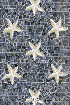 "Name: Seastars Style: Contemporary Product Number: CB0242SEASTARS (12""x18"") Description: Sea Stars, a hand cut natural stone mosaic, is shown in Blue Bahia, Calacatta Tia and Renaissance Bronze polished.  Copyright New Ravenna ®"