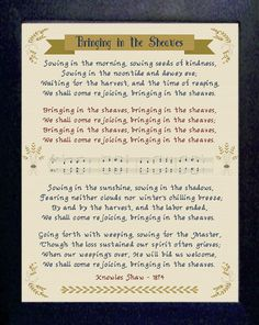 Bringing in the Sheaves stitched in Vintage 14 count aida Cross Stitch Charts, Cross Stitch Designs, Cross Stitch Patterns, Praise Songs, Needle Minders, Friendship Gifts, Joyful, Cross Stitching, Baby Gifts