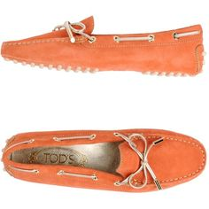 Tod's Loafer ($264) ❤ liked on Polyvore featuring shoes, loafers, coral, flat loafers, loafers moccasins, leather shoes, leather loafers and tods loafers