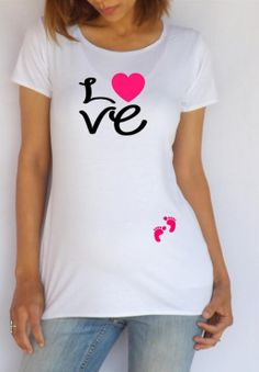 """Items similar to Maternity Shirt """"Love"""" with footprints Perfect for valentine's day, cute maternity shirt, maternity wear, Pregnancy clothes on Etsy Cool Maternity Clothes, Cute Maternity Shirts, Funny Pregnancy Shirts, Pregnancy Outfits, Maternity Fashion, Funny Maternity, Baby Shower Shirts, Custom Made Shirts, Girls Tees"""