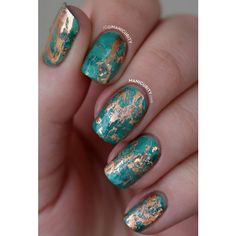 100+ Awesome Green Nail Art Designs ❤ liked on Polyvore featuring beauty products, nail care, nail treatments and nails
