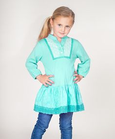 Love this Teal Eyelet Tunic - Infant, Toddler & Girls by Jelly the Pug on #zulily! #zulilyfinds